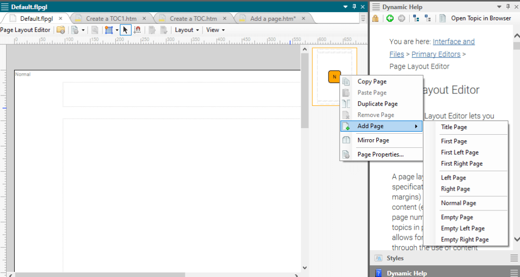 add a page to design a page layout for printed output