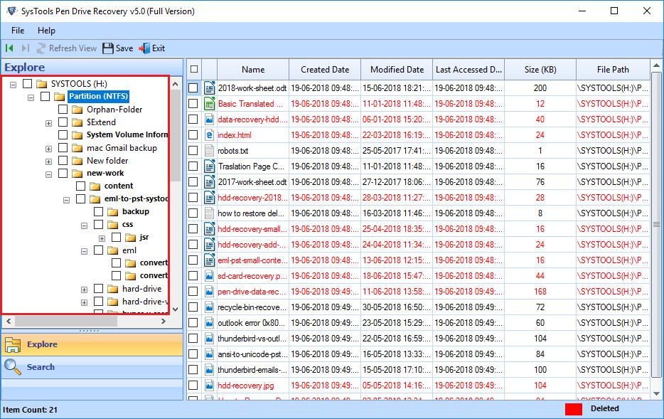 list all the restored data
